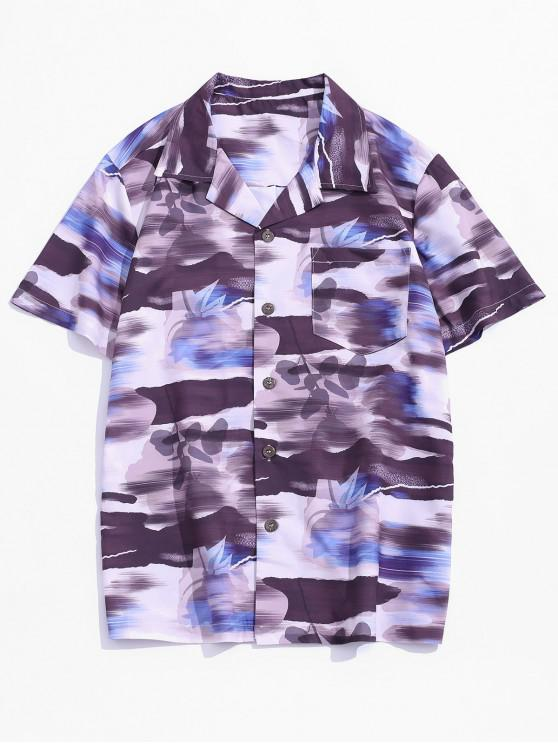 Pocket Patch Print Vacation Shirt - Multi-A XS