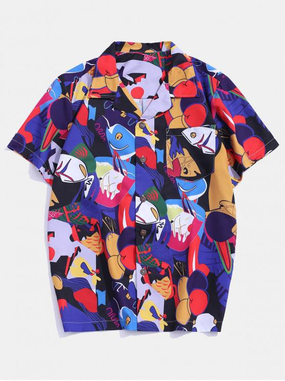 best Funny Graphic Pattern Pocket Patch Shirt - MULTI-B 2XL
