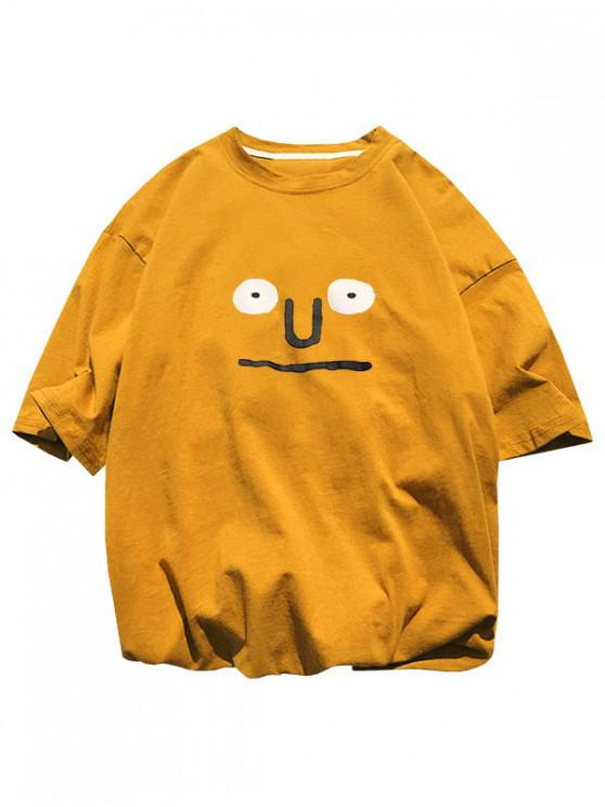 Funny Pattern Basic T-shirt - نحلة صفراء XS