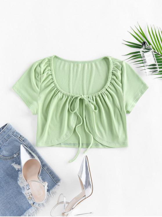 fancy ZAFUL Ribbed Knit Tie Front Crop T Shirt - LIGHT GREEN L
