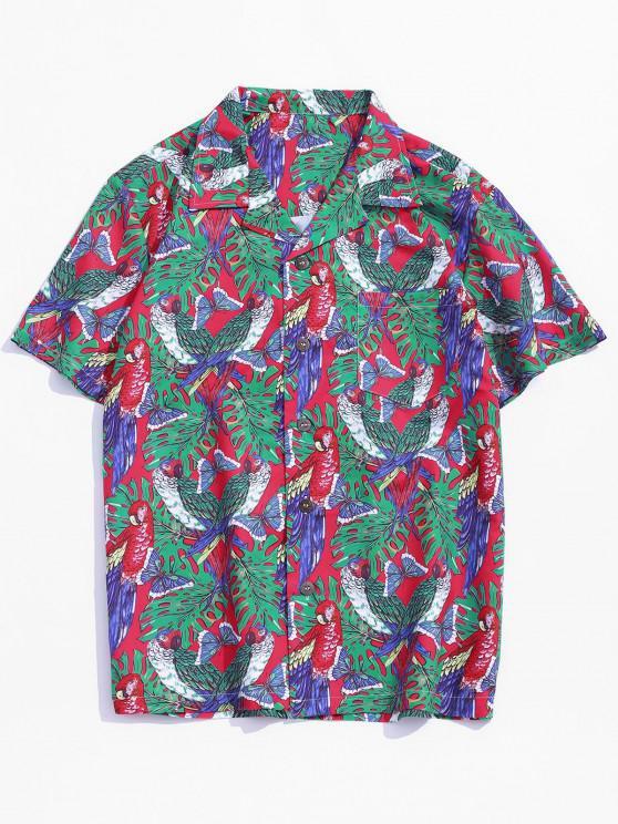 Butterfly Parrot Print Pocket Beach Button Up Shirt - Multi XS