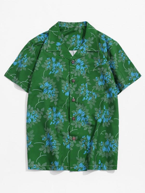 Spotty Leaf Print Pocket Button Up Beach Shirt - Multi XS