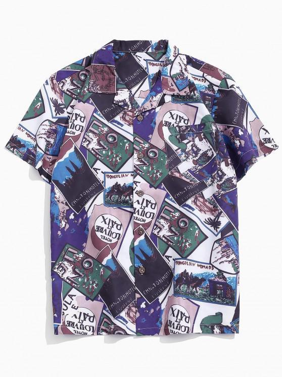 chic Letter Pattern Block Pocket Beach Short Sleeve Shirt - MULTI XS