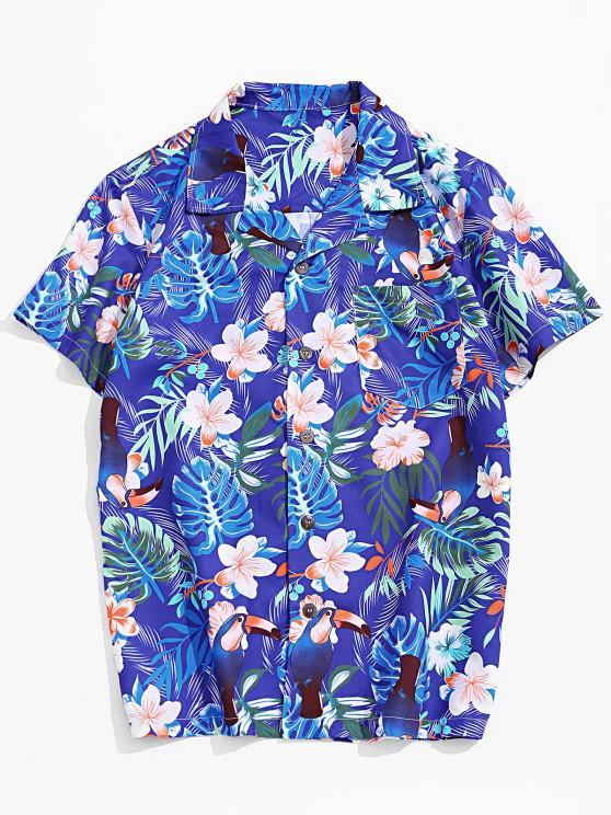 Flower Leaf Tropical Print Pocket Vacation Shirt - متعددة-A 2XL