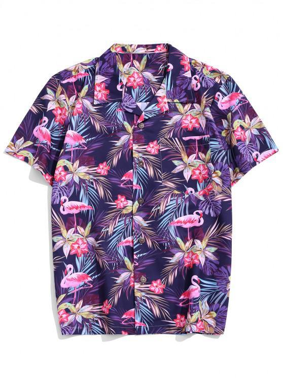 shop Flower Leaf Tropical Print Pocket Vacation Shirt - MULTI-B 2XL