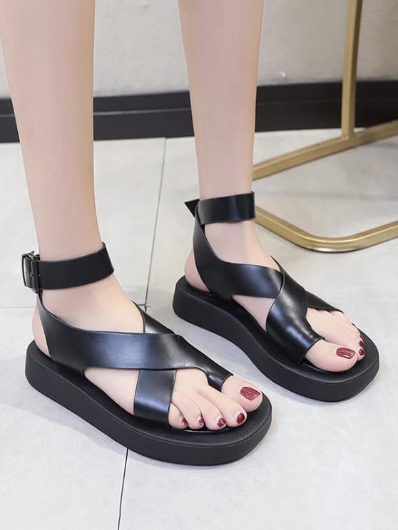 hot Toe Loop Cross Strap Platform Sandals - BLACK EU 39