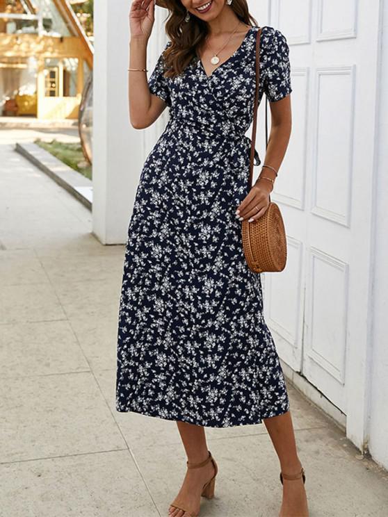 outfit Tiny Floral Print A Line Wrap Dress - DEEP BLUE L