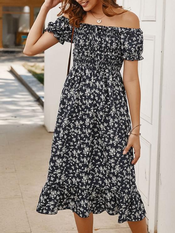 hot Off Shoulder Tiny Floral Tied Dress - DEEP BLUE M