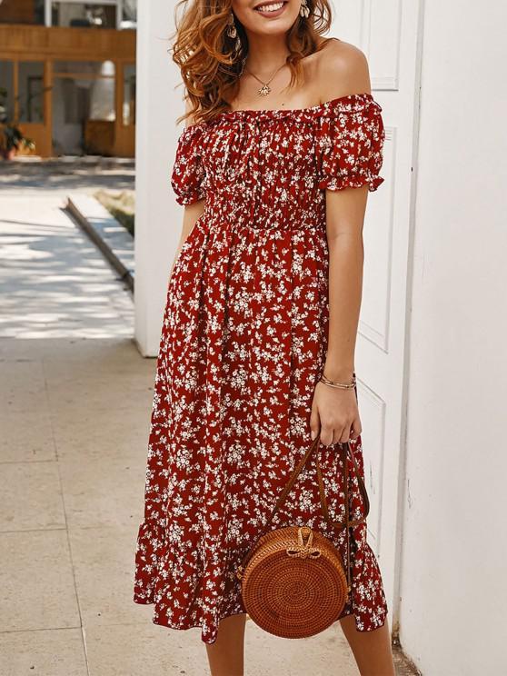 online Off Shoulder Tiny Floral Tied Dress - RED M
