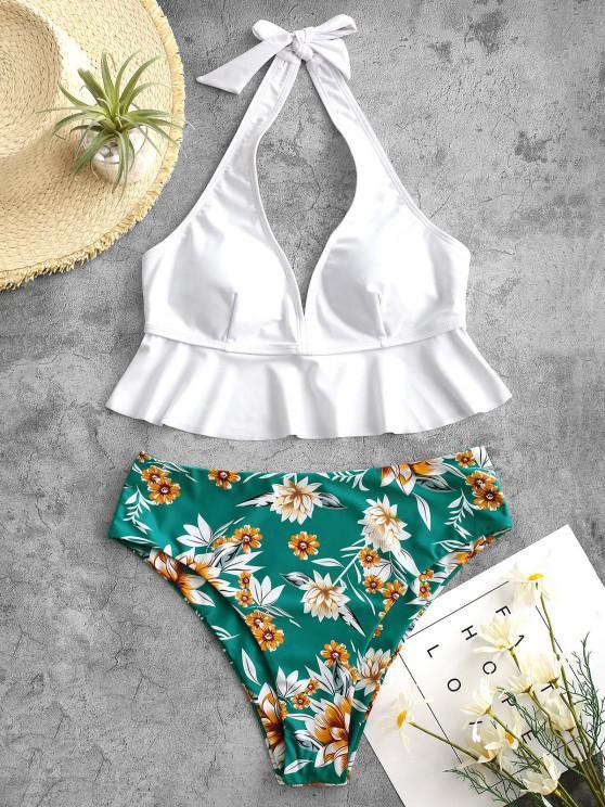 ZAFUL Halter Flounce Plant Print Tankini Swimwear - ازرق مخضر L