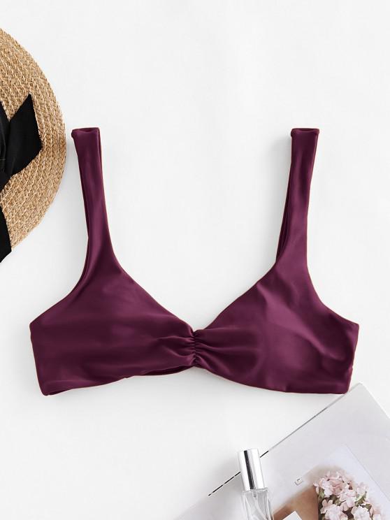 womens ZAFUL Ruched Twisted Padded Bikini Top - DEEP RED S