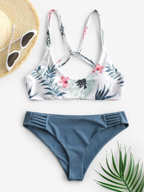 hot ZAFUL Leaf Print Strappy Bikini Swimsuit - BLUE S