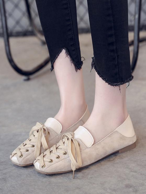 Lace Up Patchwork Leisure Shoes - اللون البيج الاتحاد الأوروبي 39