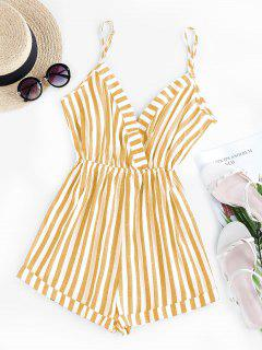 ZAFUL Stripe Surplice Romper - Yellow M