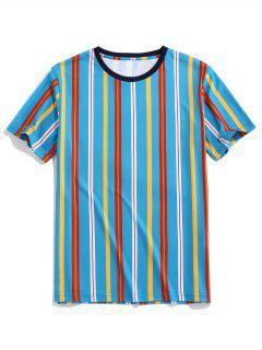 ZAFUL Vertical Striped Print Round Neck Tee - Blue 2xl