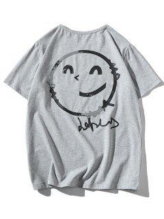Camiseta Suelta Estampada Manga Corta Cuello Redondo - Gris S