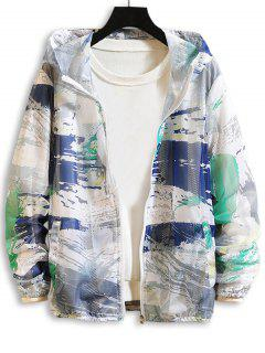 Paint Printed Sunproof Mesh Hooded Jacket - Green Xs