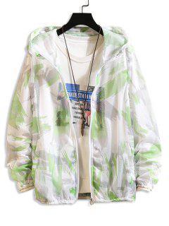 Paint Pattern Mesh Sunproof Hooded Jacket - Green Xs