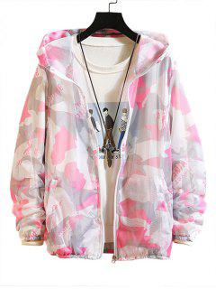 Camouflage Letter Print Sunproof Mesh Hooded Jacket - Pink Xs