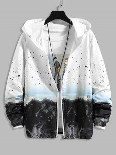 Mountain Landscape Paint Dots Print Sunproof Hooded Jacket - White M