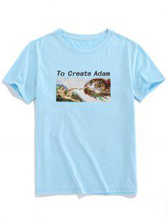 ZAFUL Create Adm Renaissance Print Basic T-shirt - Light Blue 2xl