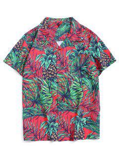 Urlaub Tropischer Blattdruck Taschen Patch Hemd - Multi-b Xs