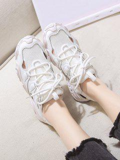 Patchwork Lace Up Sports Sandals - Beige Eu 38