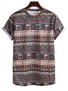 Elephant Seamless Pattern Rolled Sleeve Crew Neck T Shirt - Sepia L