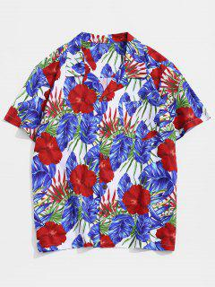 Wildflower Print Pocket Hawaii Button Up Shirt - Multi M