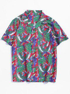 Butterfly Parrot Print Pocket Beach Button Up Shirt - Multi 2xl