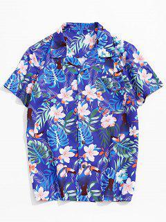 Flower Leaf Tropical Print Pocket Vacation Shirt - Multi-a 2xl