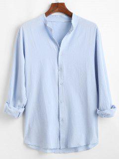 Button Down Plain Kurta Shirt - Light Blue 3xl