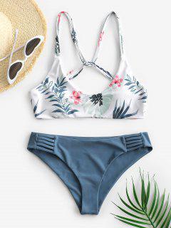 ZAFUL Leaf Print Strappy Bikini Swimsuit - Blue M