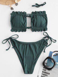 Bikini De Bandeau Acanalado Con Volantes - Verde Oscuro S