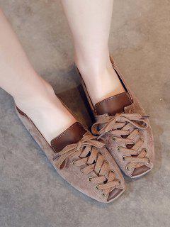 Lace Up Patchwork Leisure Shoes - Brown Eu 39