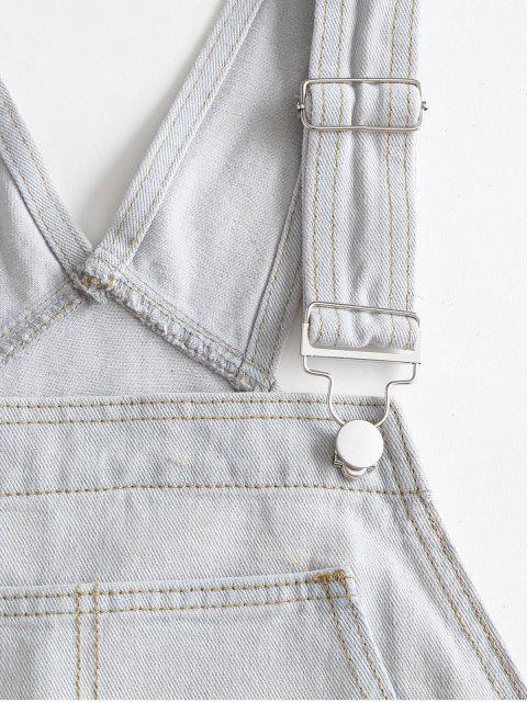 online Casual Denim Pockets Overalls Dress - LIGHT BLUE M Mobile
