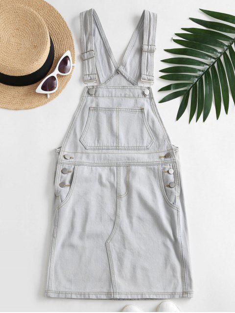 ladies Casual Denim Pockets Overalls Dress - LIGHT BLUE XL Mobile