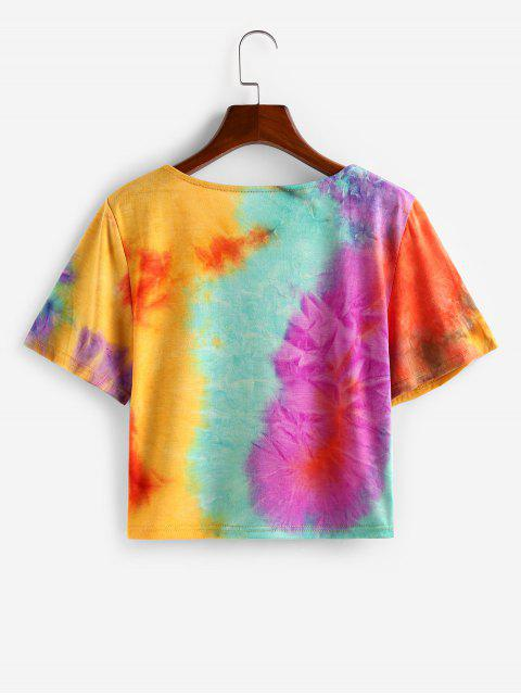 shops ZAFUL Tie Dye V Neck Casual T-shirt - DEEP YELLOW XL Mobile