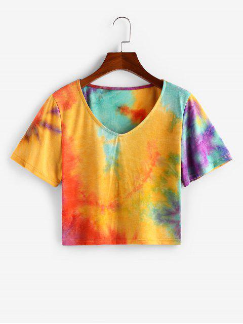 ZAFUL T-shirt Casual de Tingimento de Gravata com Decote em V - profundo Amarelo M Mobile