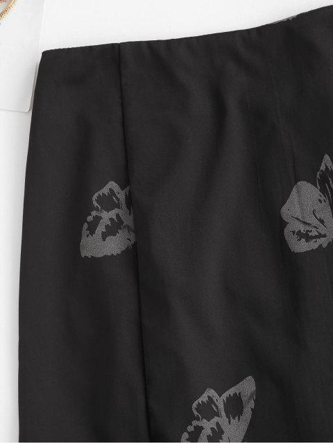 womens Front Slit Butterfly Mini Skirt - BLACK L Mobile
