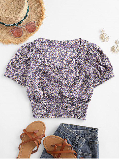 trendy Smocked Waist Daisy Print Puff Sleeve Blouse - PURPLE S Mobile