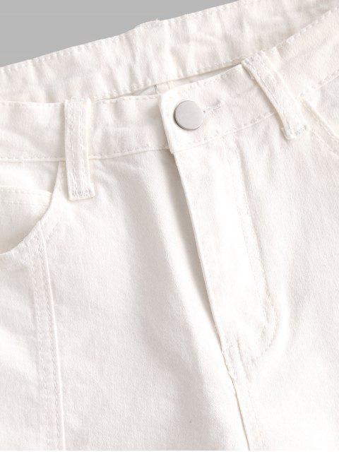 best Y2K Uneven Hem Capri Jeans - WHITE M Mobile