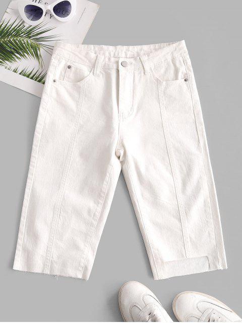 Calça Jeans Lavada com Destruição de Vários Bolsos - Branco L Mobile
