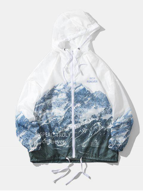 latest Snow Mountain Print Lightweight Sunproof Hooded Jacket - WHITE L Mobile