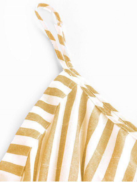 shops ZAFUL Stripe Surplice Romper - YELLOW L Mobile