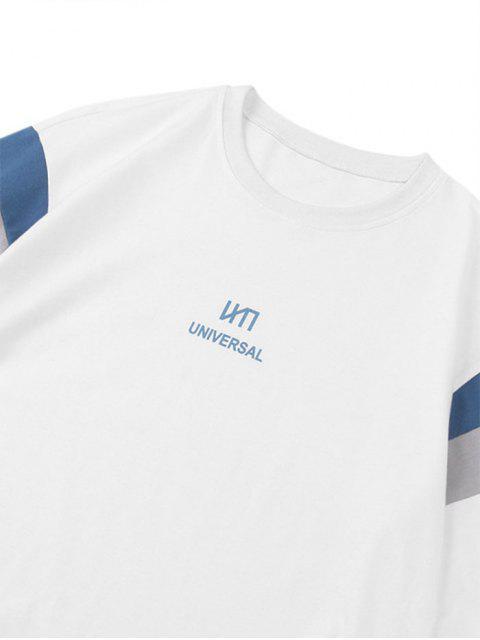 Universal Buchstabedruck Farbblock Panel T-Shirt - Weiß 2XL Mobile
