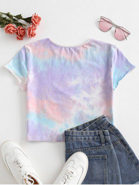 chic Letter Graphic Tie Dye Cropped Tee - LIGHT PURPLE S Mobile