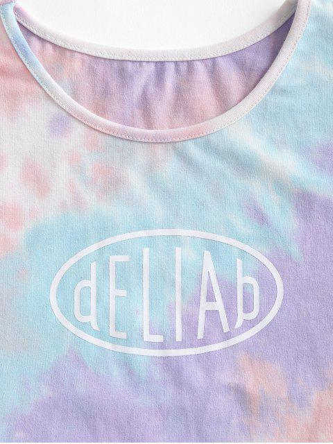 hot Letter Graphic Tie Dye Cropped Tee - LIGHT PURPLE M Mobile