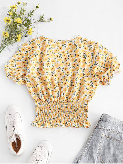 outfits V Neck Bright Ditsy Floral Smocked Waist Blouse - YELLOW S Mobile