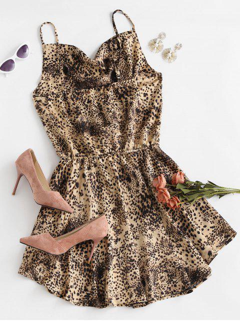 Vestido de Tirante Fino de Cintura con Lazo Frontal de Leopardo - café S Mobile